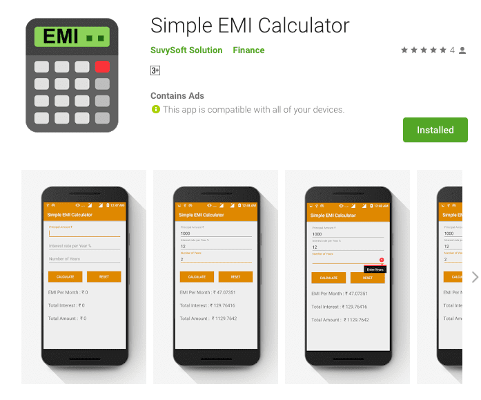 Simple EMI Calculator
